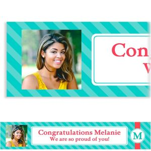 Custom Teal & Pink Initial Graduation Photo Banner