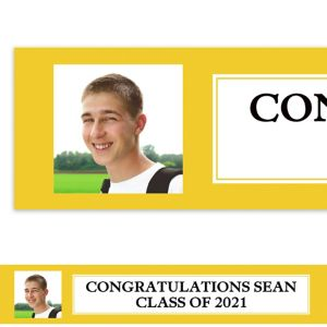 Custom Classic Yellow Graduation Photo Banner