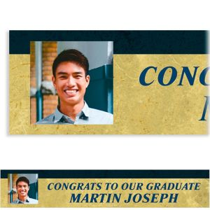 Custom Gold & Navy Textured Graduation Photo Banner