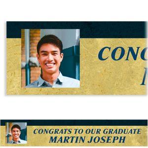 Custom Gold & Navy Textured Graduation Photo Banner