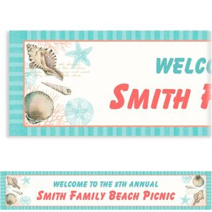 Custom By the Sea Seashell Banner