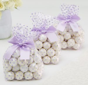 Lilac Polka Dot Treat Bags with Bows 12ct