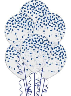 Transparent & Royal Blue Dot Balloons 6ct