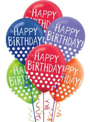 Multicolor Polka Dot Birthday Balloons 20ct