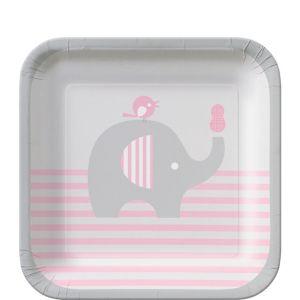 Pink Baby Elephant Dessert Plates 8ct