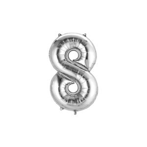 Air-Filled Silver Number 8 Balloon