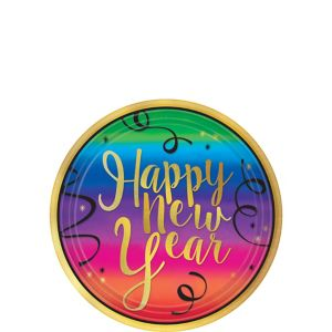 Colorful New Year's Dessert Plates 18ct