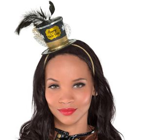 Black, Gold & Silver Mini New Year's Top Hat Headband