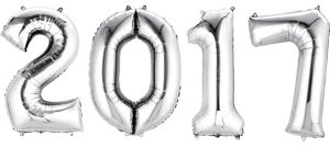 Silver 2017 Number Balloons 4pc