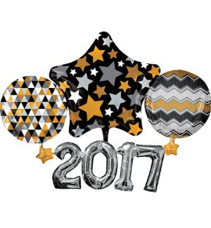 Black, Gold & Silver 2017 Balloon - Giant