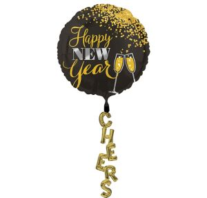 Black, Gold & Silver New Year's Balloon with Tail - Giant