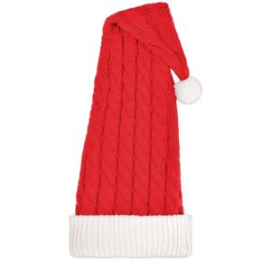 Long Cable-Knit Santa Hat