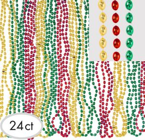 Red, Green & Gold Christmas Bead Necklaces 24ct