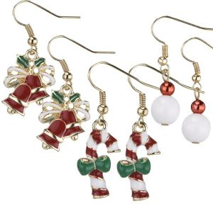 Bells & Candy Cane Christmas Earrings Set 6pc