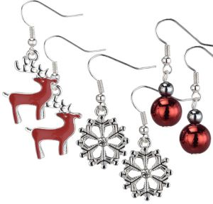 Reindeer & Snowflake Christmas Earrings Set 6pc