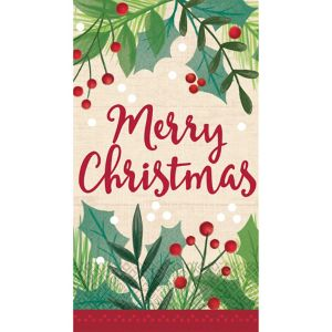 Holly Merry Christmas Guest Towels 16ct