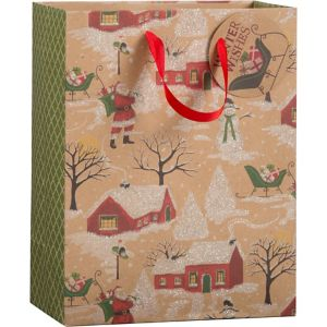 Small Glitter Christmas Time Kraft Gift Bag