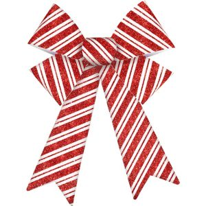 Glitter Red & White Striped Bow