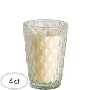 Clear Faceted Tumbler Candles 4ct