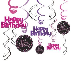 Happy Birthday Swirl Decorations 12ct - Pink Sparkling Celebration