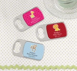 Personalized Baby Shower Bottle Openers - Silver (Printed Epoxy Label) (Bright Pink, Monkey)
