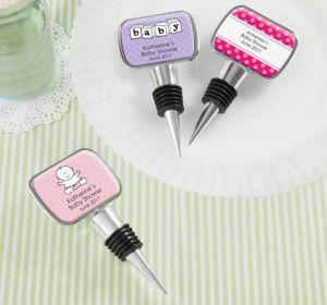 Personalized Baby Shower Bottle Stoppers (Printed Epoxy Label) (Purple, Pram)
