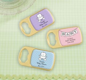 Personalized Baby Shower Bottle Openers - Gold (Printed Epoxy Label) (Bright Pink, Pram)