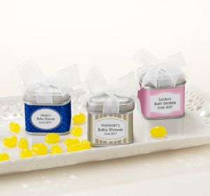 Personalized Baby Shower Favor Tins with Bows, Set of 12 (Printed Label) (Sky Blue, Polka Dots)
