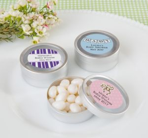 Personalized Round Candy Tins - Silver, Set of 12 (Printed Label) (Sky Blue, Stork)