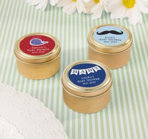 Personalized Baby Shower Round Candy Tins - Gold (Printed Label) (Lavender, Mustache)