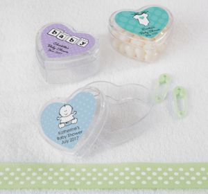 Personalized Baby Shower Heart-Shaped Plastic Favor Boxes, Set of 12 (Printed Label) (Purple, Onesie)