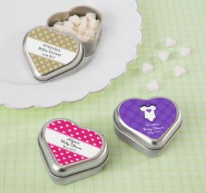 Personalized Baby Shower Heart-Shaped Mint Tins with Candy (Printed Label) (Lavender, Polka Dots)