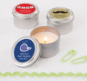 Personalized Baby Shower Candle Tins (Printed Label) (Purple, Duck)