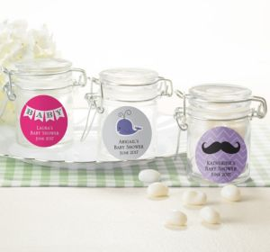 Personalized Baby Shower Small Glass Jars (Printed Label) (Lavender, Mod Dots)