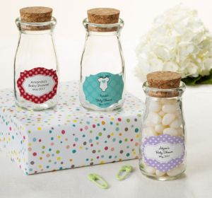 Personalized Baby Shower Glass Milk Bottles with Corks (Printed Label) (Purple, Pram)