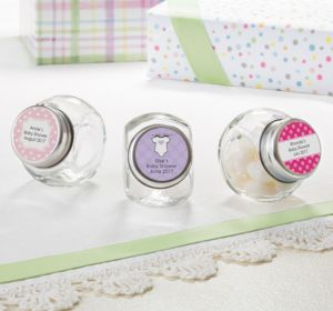 Personalized Baby Shower Glass Candy Jars (Printed Label) (Lavender, Swirl)