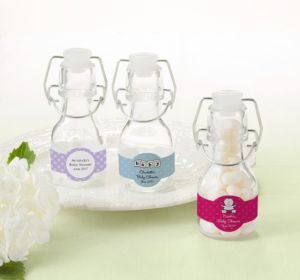 Personalized Baby Shower Glass Swing Top Bottles (Printed Label) (Purple, Baby Banner)