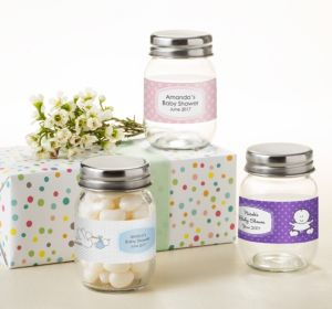 Personalized Baby Shower Mini Glass Mason Jars (Printed Label) (Gold, Baby Banner)