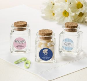 Personalized Baby Shower Small Glass Bottles with Corks (Printed Label) (Pink, Pram)