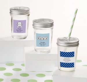 Personalized Baby Shower Mason Jars with Daisy Lids (Printed Label) (Sky Blue, Greek Key)