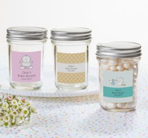 Personalized Baby Shower Mason Jars with Solid Lids (Printed Label) (Sky Blue, Stork)