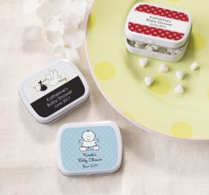 Personalized Baby Shower Mint Tins with Candy (Printed Label) (Sky Blue, Damask)