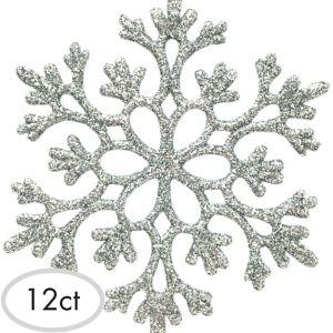 Glitter Silver Snowflake Ornaments 12ct