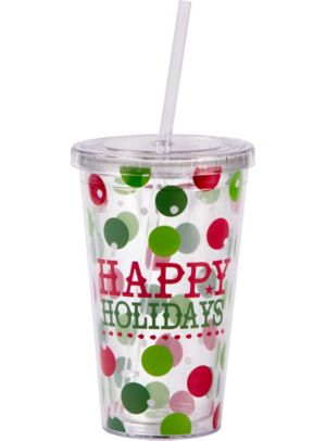 Polka Dot Happy Holidays Double Wall Tumbler with Straw