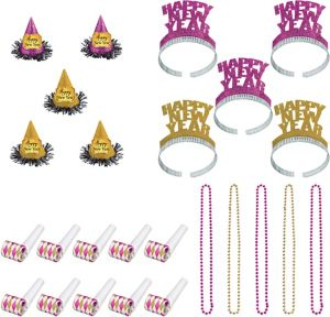 Glitz & Glam Pink New Year's Party Kit for 10 Guests