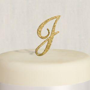 Rhinestone Gold Monogram J Cake Topper
