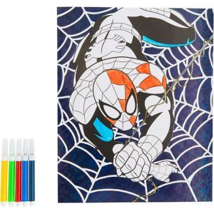 Prismatic Spider-Man Coloring Sheet with Markers