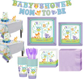 Welcome Baby Woodland Deluxe Tableware Kit for 32 Guests