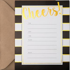 Metallic Black & White Striped Cheers Invitations 20ct
