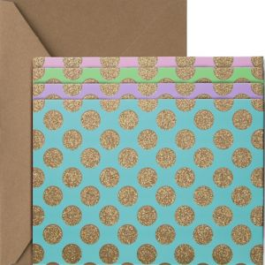 Glitter Gold Polka Dot Pastel Note Cards 20ct